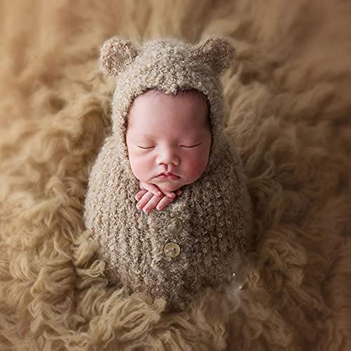 YANGLIXIA Photography recién Nacido Disfraces de Romper de Lana Bebé Monumentos Lindo Bolso para Dormir para Foto Foto de Estudio Dark Gray
