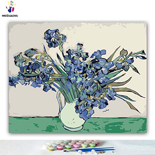 Van Gogh iris DIY Oil Painting by Numbers Art Paint by Number Famous Paintings Collection Coloring Graffiti Living Room Gift
