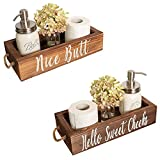 Xuanrong Retro Solid Wood Personalized Storage Box,Bathroom Accessories, Funny Toilet Paper Holder for Farmhouse Rustic Toilet Paper Holder,Toilet Tank Tray, Bathroom Decor Box, Toilet Paper Storage