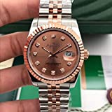DMZZYGJR Luxury Automatic Mechanical Men Stainless Steel Sapphire Rose Gold Diamond Watch 36Mm Silver Gold