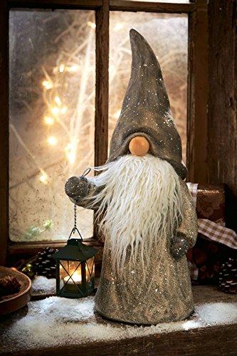 Pureday Weihnachtsdeko - Dekofigur Wichtel Toby - Mit Teelichthalter - Grau - Höhe ca. 50 cm