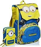 Schoolpack Zaino Seven Minions Estensibile Giallo Blu + Astuccio Triplo Completo
