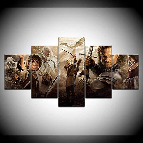 ADGUH 5 Leinwanddrucke 5 Panels Herr Der Ringe Film Charaktere Leinwand Malerei Wandkunst Drucke Bilder KunstwerkDrucke auf Leinwand Rahmen