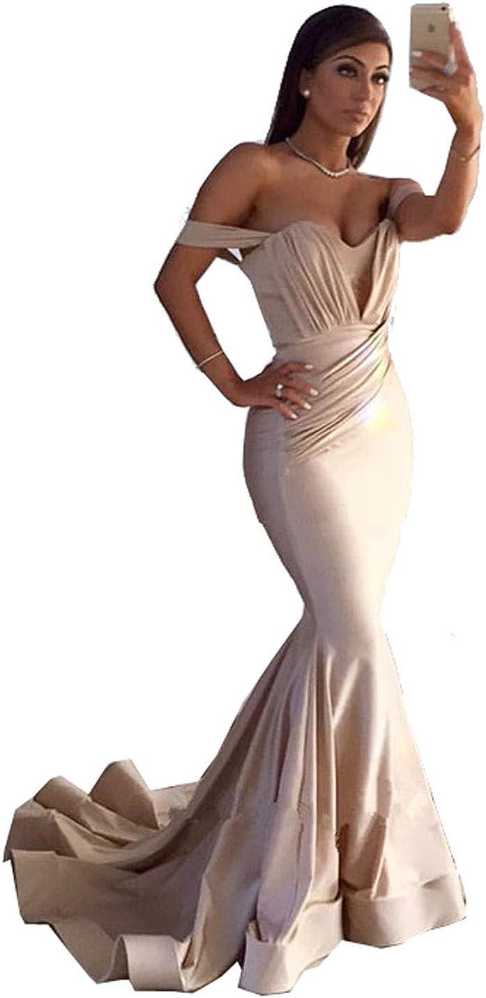 MariRobe Women's Off The Shoulder Mermaid Evening Dress Long Wedding Dress Formal Drsss