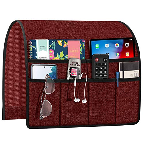 Joywell Sofa Armrest Organizer, Remote Control Holder for Recliner Couch, Arm Chair Caddy with 6 Pockets for Magazine, Tablet, Phone, iPad, Burgundy