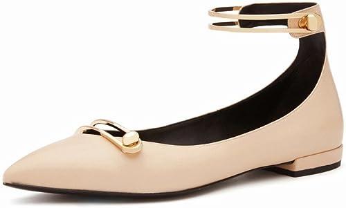 DHG Les Femmes de Printemps Et D'été 'Mot Chaussures Boucle Plat Chaussures Femmes' S Simple Bouche Peu Profonde Plat avec des Chaussures Simples,Une,36