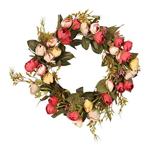 Generic Coroa de Rosas Feitas à Mão, Simulação Artificial Floral, Guirlanda, Porta Da Casa - Vermelho