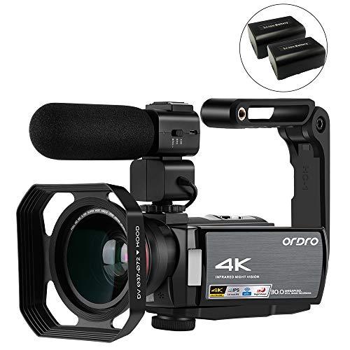 ORDRO 4K UHD camcorder digitale videocamera met microfoon en groothoeklens