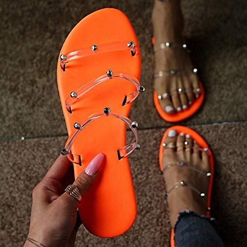 WUHUI Chanclas Niñas, Zapatillas Planas para Mujer Summer Word Drag Beach, Orange_35, Sandalias y Chanclas para Unisex Niños y Adulto