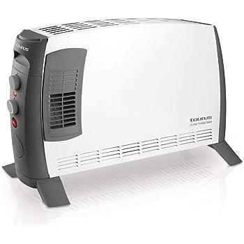 Taurus Clima Turbo 2000 Termoconvector portátil. Calefactor potente 2000 W, 3 posiciones de calor, silencioso, termostato regulable, patas incluidas, función Turbo