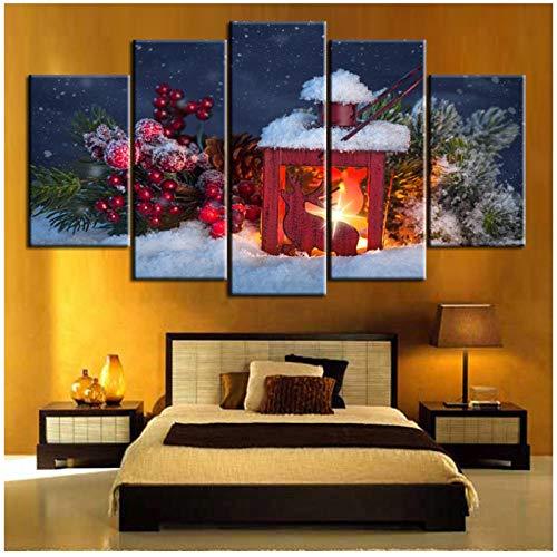 Canvas Schilderij 5 Stuks Kerst Kaarsen en Pine Wandfoto's voor Woonkamer Home Decor -30x40x2 30x60x2 30x80cm(geen Frame)