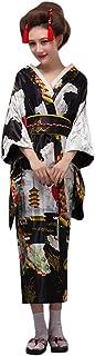 zlianhui 女性用プリント着物ローブ日本の伝統衣装写真ロールプレイング衣装 レディース 花魁系 ロング 着物ドレス シフォン 桜 和風 浴衣 コスチューム コスプレ衣装 帯付き