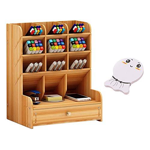 Joyhoop Caja de Almacenamiento de Oficina, Organizador de escritorio de madera de Gran Capacidad Multifuncional con Soporte de Bolígrafo cajón, para papelería, hogar.(Con Notas Adhesivas)