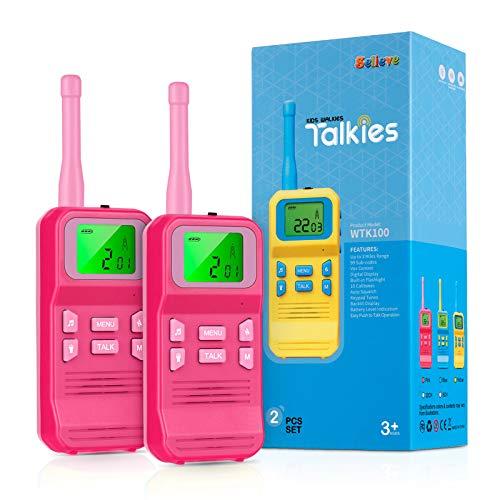 Selieve Spielzeug 3-12 Jahren für Mädchen, Walkie Talkies für Kinder Spielzeug für Kinder Funkgerät mit 3KM Reichweite 8 Kanal LCD-Taschenlampe, Geschenk für 3-12 Jährige Jungs und Mädchen Kinder