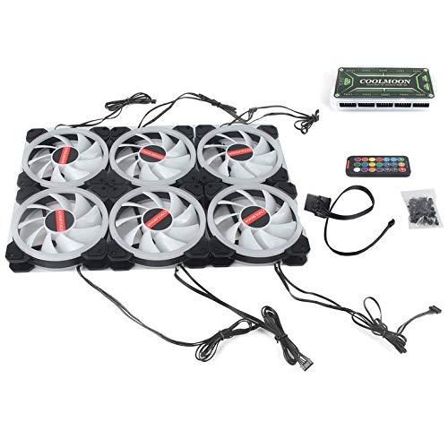 CNmuca Ventilador de resfriamento do computador PC Cooler Anel duplo 366 modos RGB LED 120mm Ventilador de resfriamento super silencioso para CPU Fluxo de ar alto preto e prata 6pcs (controle remoto incluído)