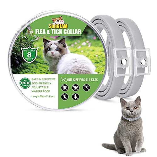 Collare Antipulci e Zecche per Gatti, Collare Antipulci per Gatti Impermeabile Misura Regolabile e Naturale con Protezione di 8 Mesi, pulci e zecche Trattamento Efficace per Gattini (2 Packs)