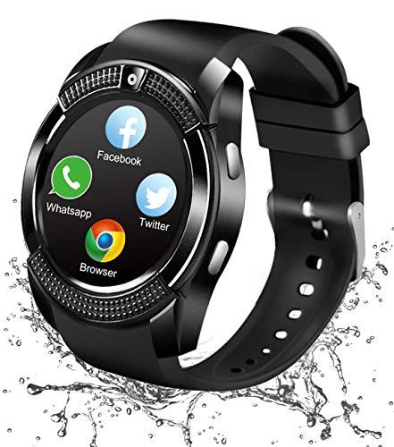 Reloj Inteligente Bluetooth, Smartwatch Pantalla Táctil Impermeable Smart Watch con Camara, SIM/TF Ranura Whatsapp Sports Podómetro Reloj Bracelet para Android Teléfono Hombre Mujer Niño Niña