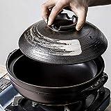 LLFFDC Casseruola Rotonda in Ceramica Resistente al Calore con Coperchio Pentola per zuppa Pentola Senza Olio Pentola Calda con Linea di pennelli Stufato Lento