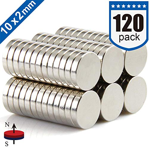 DIYMAG Refrigerator Magnets Premium Brushed Nickel Fridge Magnets, Office Magnets - 10 X 2 mm 120Pieces