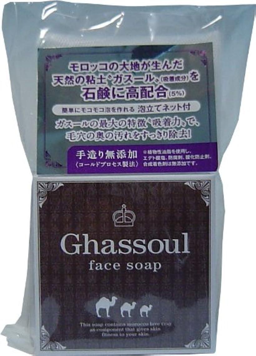 故障中タオル省簡単にモコモコ泡を作れる泡立てネット付き!Ghassoul face soap ガスールフェイスソープ 100g