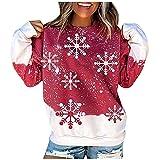 Dasongff Sweatshirt Femme Aesthetic Imprimé T-Shirts à Manches Longues Col Rond Femmes Sweat Manches Longues Imprimé Blouses Dames Chic Pas Chère Grande Taille Léger Déguisement de Noël