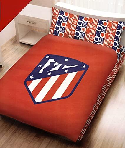 Juego de sábanas 100% algodón Atlético de Madrid Escudo Centrado. (Cama 90)