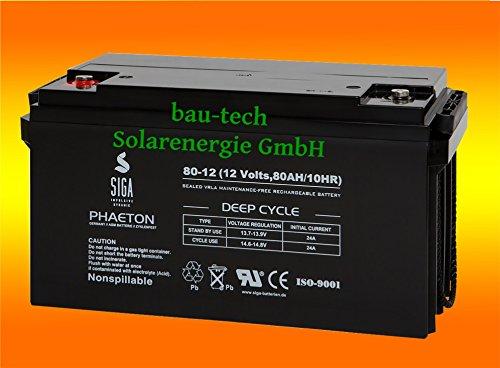 80Ah 12V Phaeton AGM GEL -Deep Cycle- Akku Batterie für Solar Wohnmobil Boot von bau-tech Solarenergie GmbH