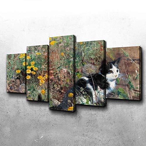 VYQDTNR Cuadro sobre Lienzo - 5 Piezas - Impresión En Lienzo - Gato en un Prado Florido Cuadro de Pintura Póster de Arte Moderno Oficina Sala de Estar o Dormitorio Decoración del Hogar Arte