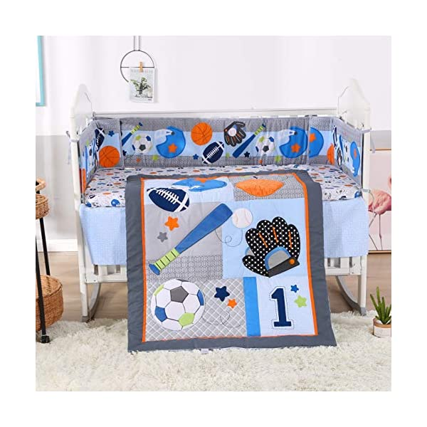 Wowelife Sports Crib Bedding Sets for Boys 7 Piece Brown Baseball Nursery Bedding with 4 Bumpers