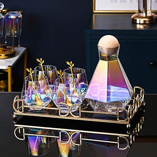 Jarras de Cristal, 1.3L Jarras para Agua, Geometría Colorida de Streamer Botella de Cristal para Caliente & Fría Agua Té Helado Bebidas y Jugo