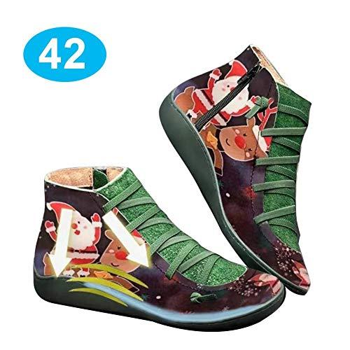 AITOCO Leopard Print Arch Support Stiefel, Frauen Leder Bequeme Ankle Bootie Herbst Vintage Lace Up Schuhe seitlicher Reißverschluss Plattform Wedge Booties Freizeitschuhe