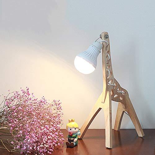 Modernas Regulable Lámpara de Mesa de Madera Jirafa Led Lamparas Mesilla de Noche para Salon Dormitorio Infantiles Niños (Pequeña, blanco cálido 2800-3200k)