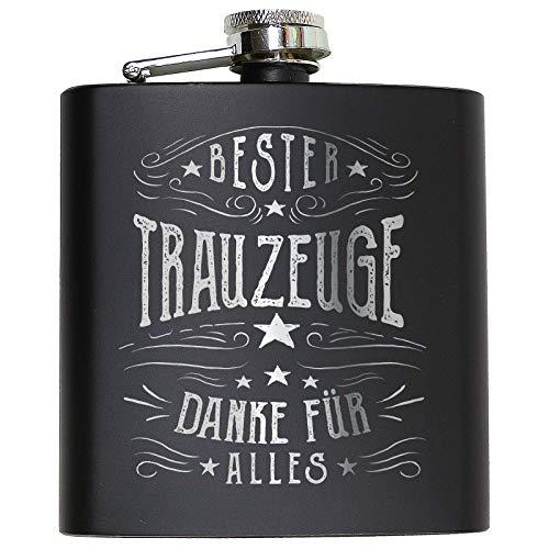 Trauzeuge & Trauzeugin Flachmann Geschenk Hochzeit Alkohol Mann Frau lustig fragen Geschenkidee Schwarz - Bester Trauzeuge