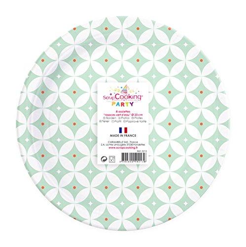 SCRAPCOOKING PARTY - 0213 - 8 Assiettes - Rosaces Vert d'Eau