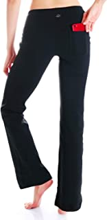 "Yogipace,2 Back Pockets,29""/31""/33""/35""/37"" Inseam, Women's Bootcut Yoga Pants Workout Pants,Petite/Regular/Tall Length"