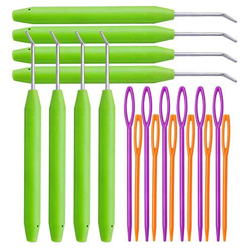 Loom Knit Hook Set, Crochet Needle Hook Kit, 8 Pcs Green Knitting Loom Hook with 12 Pcs Colorful Plastic Sewing Needles for Knitting Looms Knitting Boards