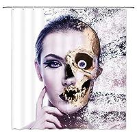 腐食した顔を持つハロウィーンテロ女浴室の窓の装飾のための生地のホックが付いているポリエステル防水シャワー・カーテン60X72in