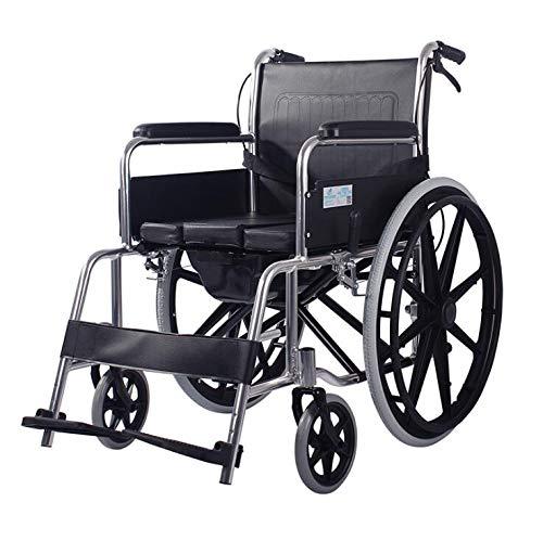 DSVBNM Aleación de Aluminio de Peso Ligero de Ancianos Vespa discapacitados con Silla de Ruedas para IR al baño Puede ser Equipado con Cuatro Frenos de Tabla Plegable