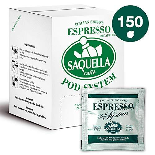 SAQUELLA caffè, Cialde caffè Espresso Dekaf - confezione da 150 cialde (150 x 6,7 gr) 1000 gr - Compatibili E.S.E.