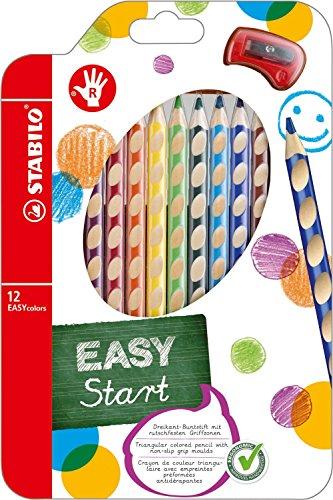 STABILO EASYcolors - ergonomische Buntstifte für Rechtshänder, mit Spitzer (2er Pack, 12er Etui)