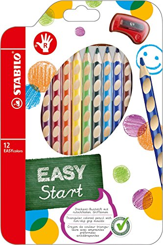 Stabilo EASYcolors - ergonomische Buntstifte für Rechtshänder, mit Spitzer (5er Vorteilspack, 12er Etui)