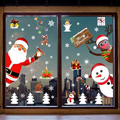 BUZIFU Fensterbilder Weihnachten, Weihnachtsdeko Fenster Statisch Haftende Weihnachtsaufkleber Schneeflocken Aufkleber Weihnachtsmann Rentier Aufkleber für Türen Schaufenster Vitrinen Glasfronten