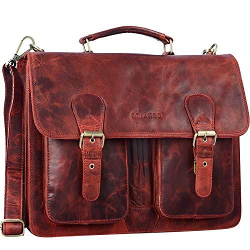 STILORD 'Karl' Maletín de Piel Grande para Profesores o Negocios Bolso de Mano o de Hombro para portátil de 15,6' Estilo Vintage de auténtico Cuero, Color:Kara - Rojo