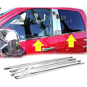 Fits 2019-2020 RAM 1500 Crew Cab 4PC Stainless Steel Chrome Pillar Post Trim Set