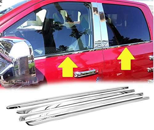 eLoveQ Polished Stainless Steel Chrome Window Sill Trims for 09-18 Dodge Ram 1500, 10-18 Dodge Ram 2500/3500 Crew/Mega Cab