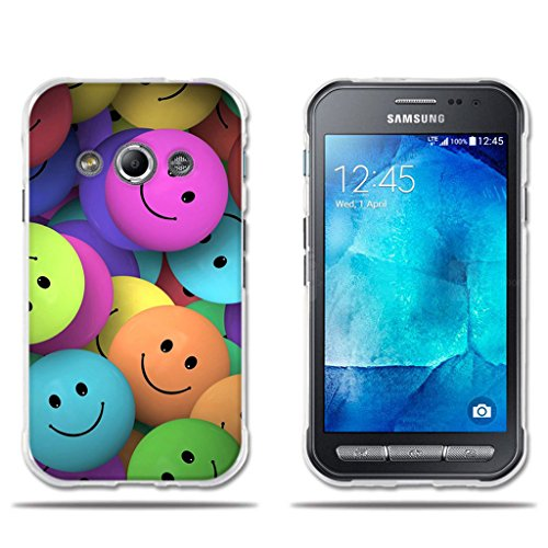 fubaoda Funda Samsung Galaxy Xcover 3 (Interesante) Diveretido Dibujo de Cara Sonriente,Amortigua los Golpes, Funda Protectora Anti-Golpes para Samsung Galaxy Xcover 3
