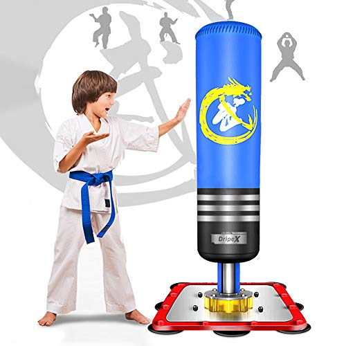 Dripex Freestanding Punching Bag - 47' Kids Heavy Boxing Bag with Suction Cup Steel Base, Children Free Stand Kickboxing Bags Kick Punch Bag | Blue