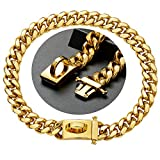 Personalized 18K Gold Plated Luxury Thick Chain Pets Pitbull French Puppies Dog Collars for Small Medium Large Dog, 316L Stainless Steel Metal Cuban Link Training Dog Necklace with Safety Buckle