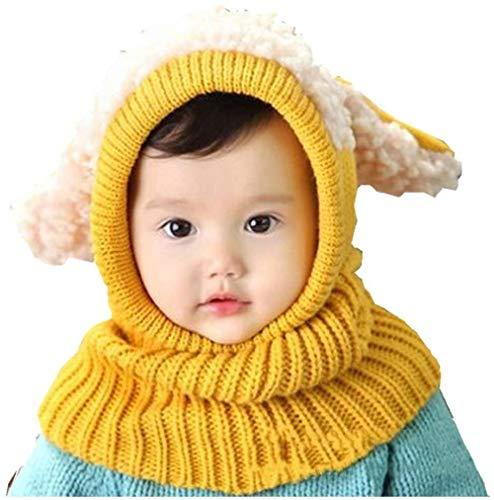 Calentador de gorro de punto para bebé con bufanda Gorro lindo con orejas de ciervo Gorro cálido de invierno acogedor para bebé con circunferencia de la cabeza de 38 a 48 cm para recién nacidos Ma