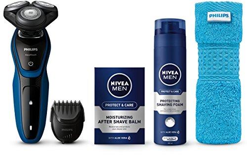 Philips Afeitadora eléctrica en seco y húmedo S5073/62 Máquina de Afeitar, Negro/Azul